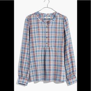 Madewell Leysfield Popover Shirt in Plaid Medium